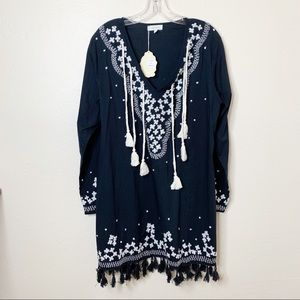 Velzera Black White Embroidered Dress Tunic 1X